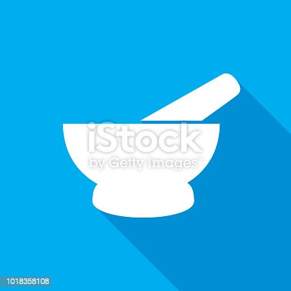 Vector illustration of a blue and white mortar and pestle icon.