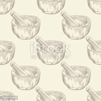 Mortar and pestle seamless pattern. Grinding spices and solid food ingredients wallpaper. Engraving vintage style. Vector illustration.
