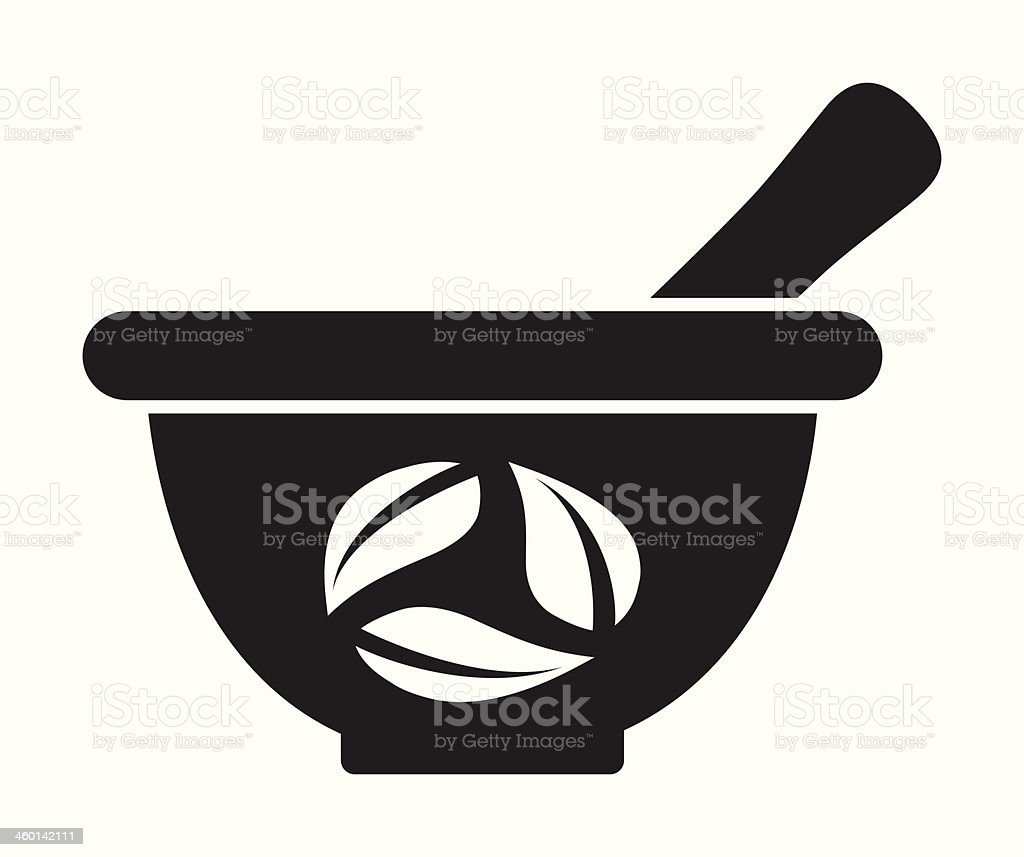 Mortar and pestle vector art illustration