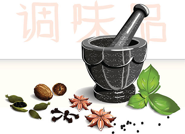 Mortar and spices vector art illustration