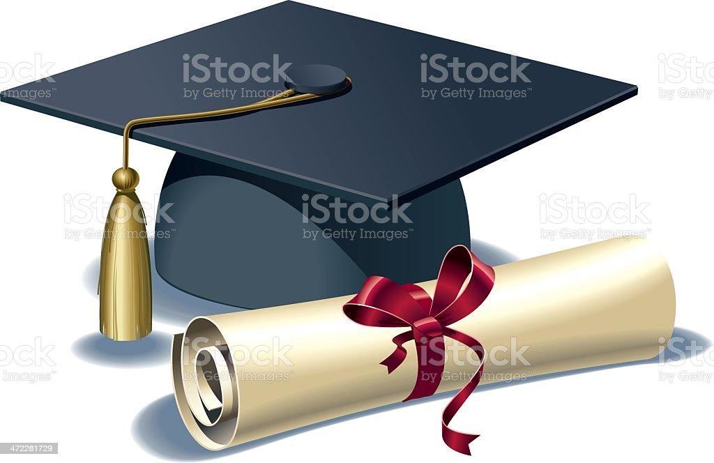 Mortar board and diploma vector art illustration
