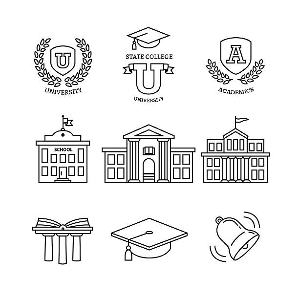 Mortar board, education, school and university Mortar board, education, school, academy, college and university, library emblems and buildings. Thin line art icons set. Modern black symbols isolated on white for infographics or web use. campus stock illustrations