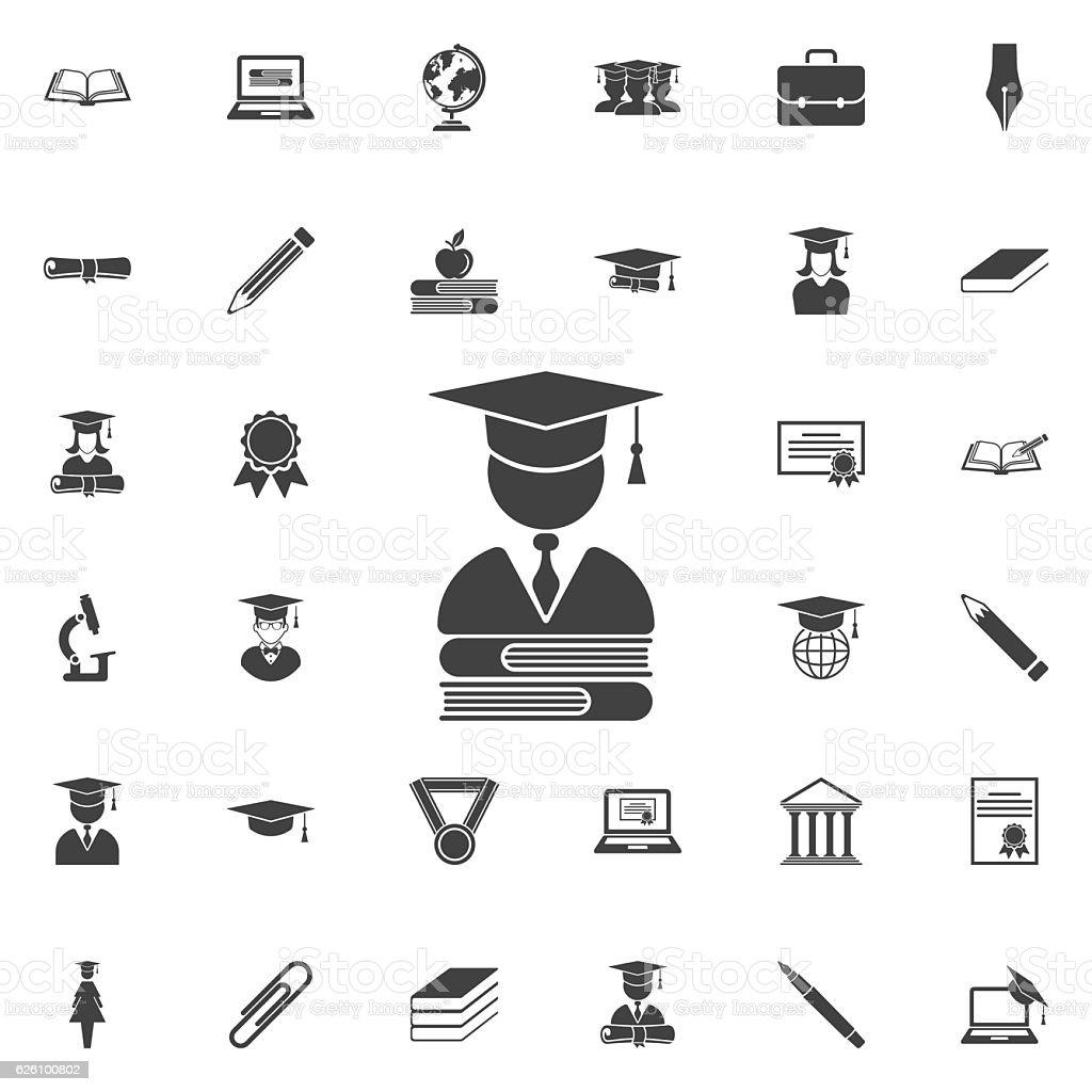 Mortar Board or Graduation Cap icon vector art illustration