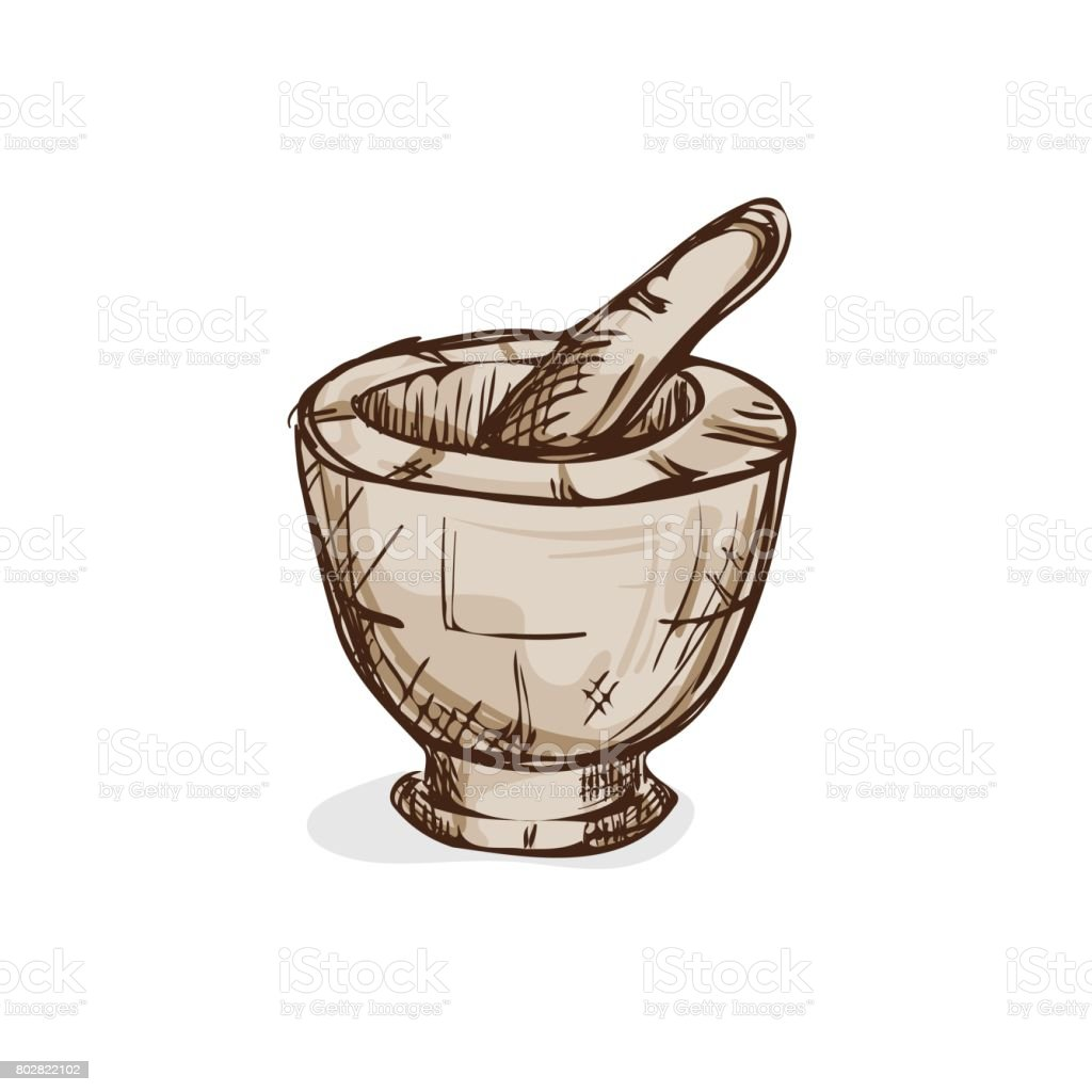 Mortar Cooking Drawing Graphic Object Food Stock Vector Art  for Mortar And Pestle Drawing  303mzq