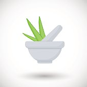 Mortar herbs with aloe vector flat icon