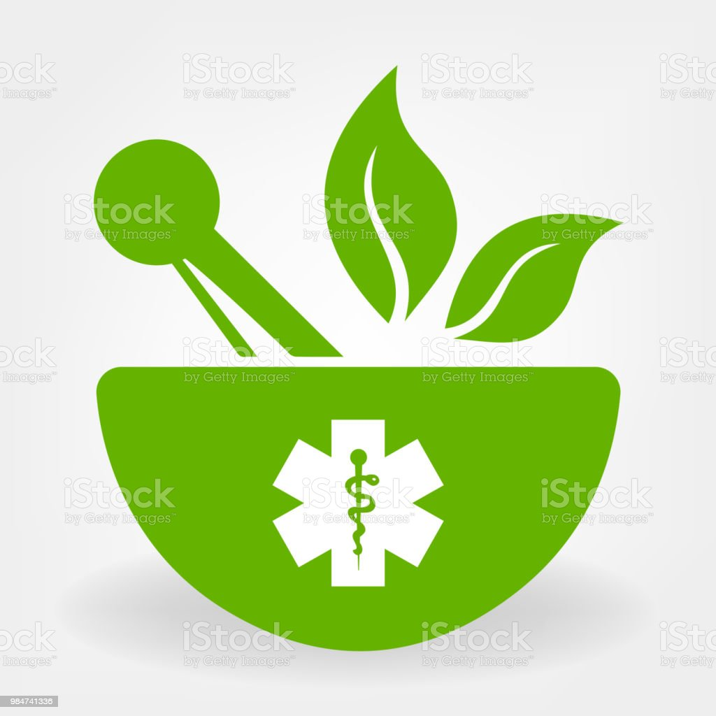 mortar, pestle and green leaf vector vector art illustration