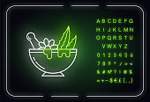 Mortar with pestle neon light icon. Graining leaves for liquid. Aloe vera sprouts. Plants in bowl. Outer glowing effect. Sign with alphabet, numbers and symbols. Vector isolated RGB color illustration