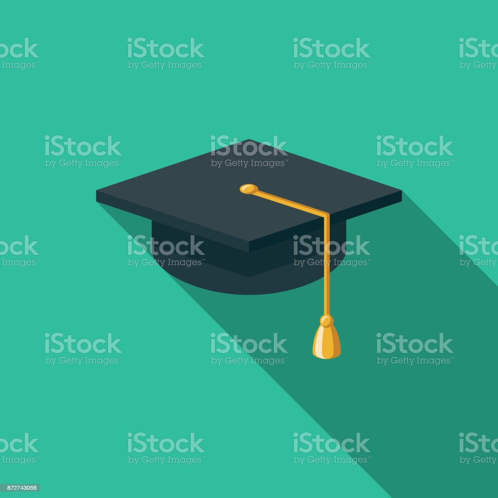 Mortarboard Flat Design Education Icon with Side Shadow vector art illustration
