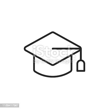 Mortarboard Line Icon with Editable Stroke.