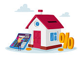 istock Mortgage and Home Buying Concept. Tiny Female Character with Huge Calculator and Percent Symbol at House with Gold Coins 1285857830