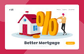 Mortgage and Home Buying Landing Page Template. Tiny Male Character with Huge Percent Symbol Stand at Cottage House. Man Taking Bank Loan for Purchasing Real Estate. Cartoon Vector Illustration