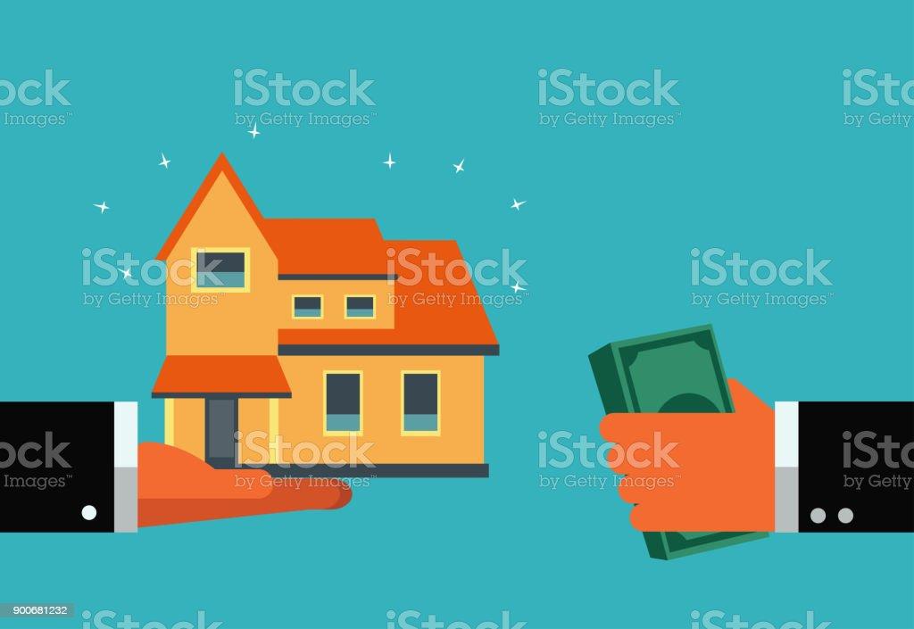 Conceito de hipoteca. Dinheiro e casa. Poupança e investimento o conceito de dinheiro. Conceito de planejamento financeiro futuro. Seguros, cartões de crédito, hipotecas e serviço bancário - ilustração de arte em vetor