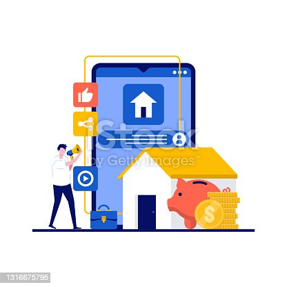 istock Mortgage concept with character. House loan or money investment to real estate. Property money investment contract. Modern flat style for landing page, mobile app, infographics, hero images. 1316675795