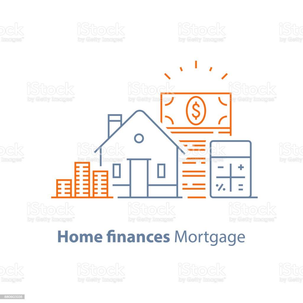 Anticipo, préstamo, tasa de interés baja, icono de línea calculadora de hipoteca - ilustración de arte vectorial
