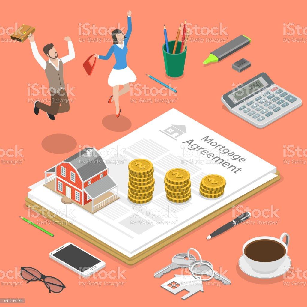 Concepto de vector plano isométrico de la hipoteca. - ilustración de arte vectorial