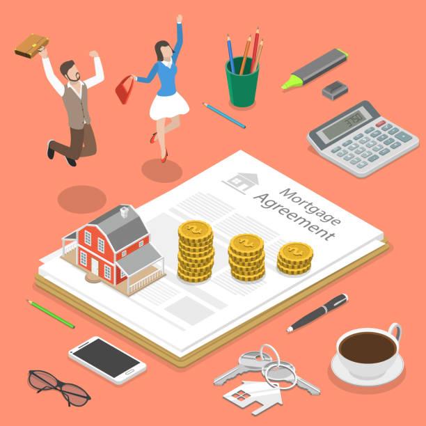 ilustraciones, imágenes clip art, dibujos animados e iconos de stock de concepto de vector plano isométrico de la hipoteca. - hipotecas y préstamos