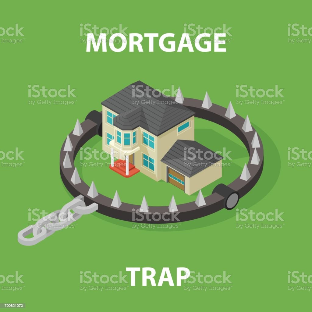 Mortgage House In Bear Trap. 3D rendering isolated on white background vector art illustration