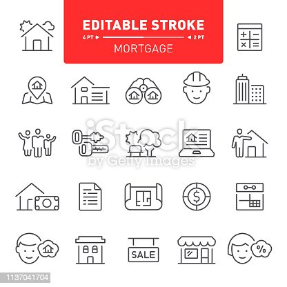 Mortgage, real estate, home ownership, finance, banking, editable stroke, outline, icon, icon set, apartment, house