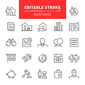 Mortgage, real estate, editable stroke, outline, icon, icon set, apartment, house, real estate agent, blueprint