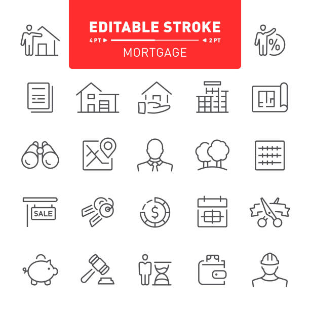Mortgage Icons Mortgage, real estate, editable stroke, outline, icon, icon set, apartment, house, real estate agent, blueprint banking drawings stock illustrations