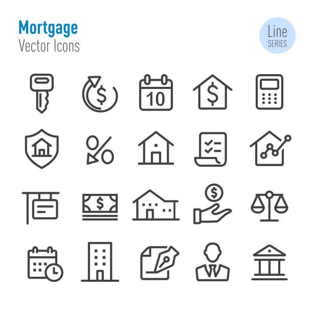 ilustrações, clipart, desenhos animados e ícones de ícones da hipoteca-linha série do vetor - empréstimo