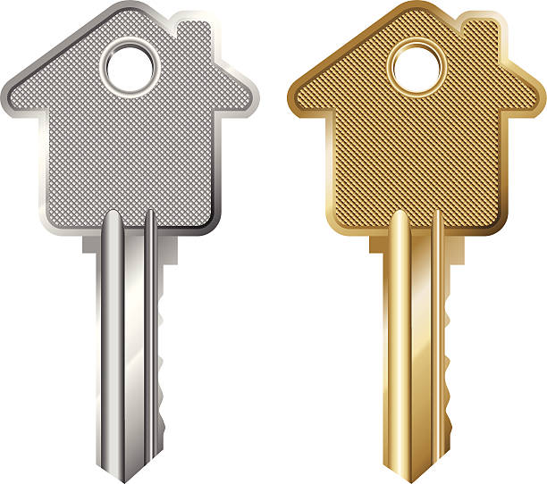 Mortgage Key Illustration of a Key Symbolising Mortgage (Pdf(6) and Ai(8) files are included) house key stock illustrations