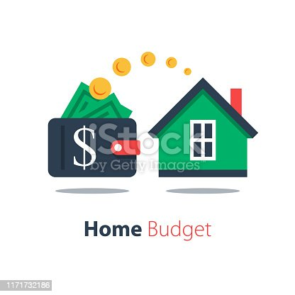 Mortgage loan, household expenses, real estate investment, house rental, property purchase, home finance and budget, living cost, vector flat illustration
