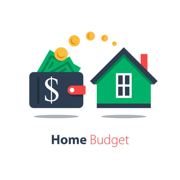 ilustrações, clipart, desenhos animados e ícones de empréstimo hipotecário, despesas domésticas, investimento imobiliário, aluguel de casas, compra de imóveis - empréstimo