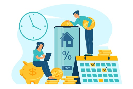 Mortgage payment online concept