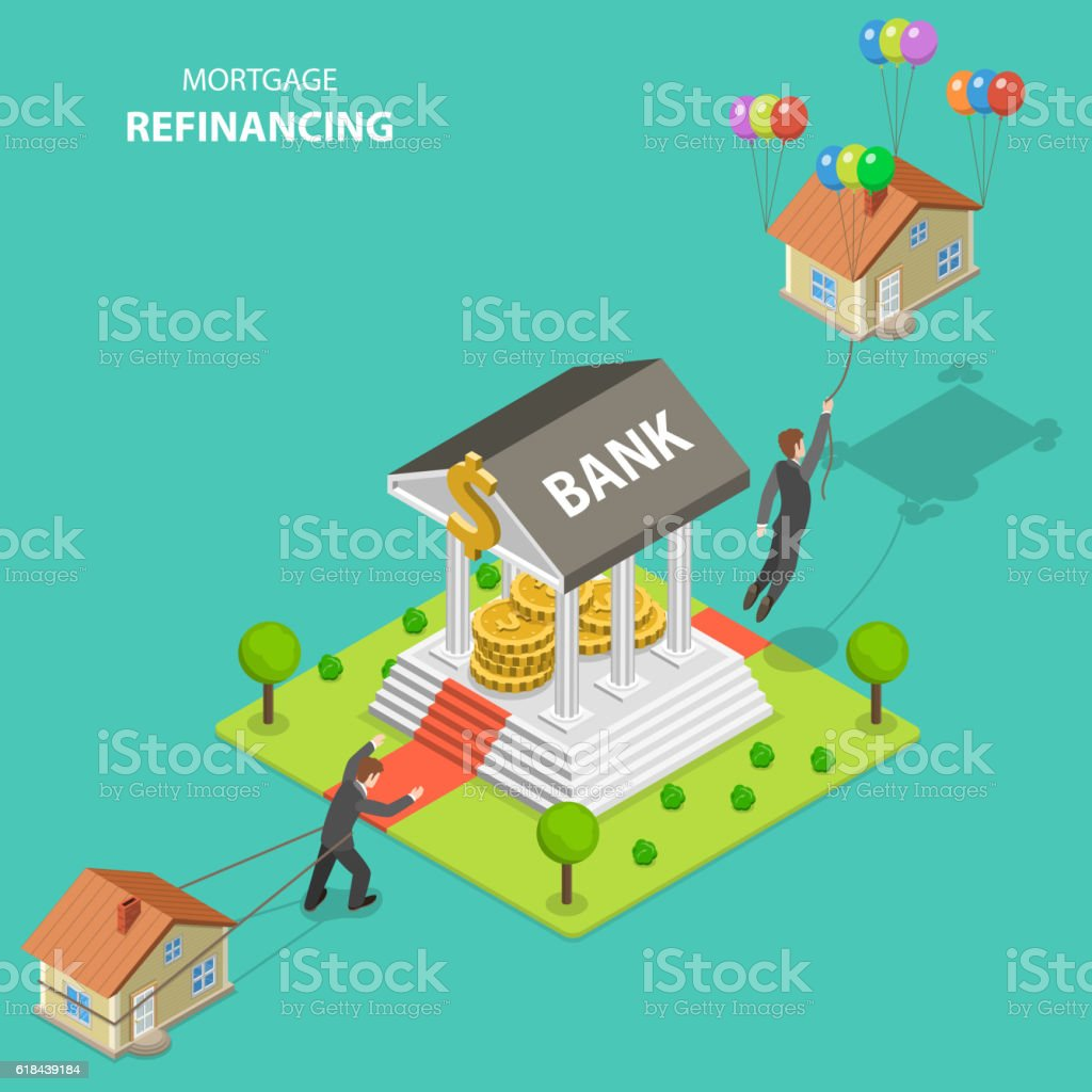 Mortgage refinancing isometric flat vector illustration. vector art illustration