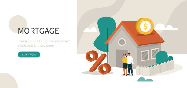 mortgage Family Buying Home with Mortgage and Paying Credit to Bank. People Invest Money in Real Estate Property. House Loan, Rent and Mortgage Concept. Flat Isometric Vector Illustration. domestic life stock illustrations