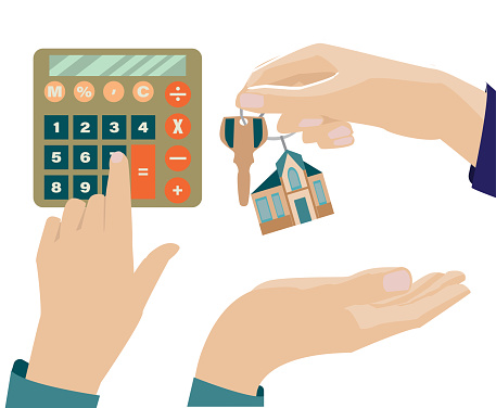 Mortgage vector illustration. Mortgage concept.The hand counts on the calculator. One hand holds a keychain with a house key, the other accepts the key. isolated on a white background. artoon style.
