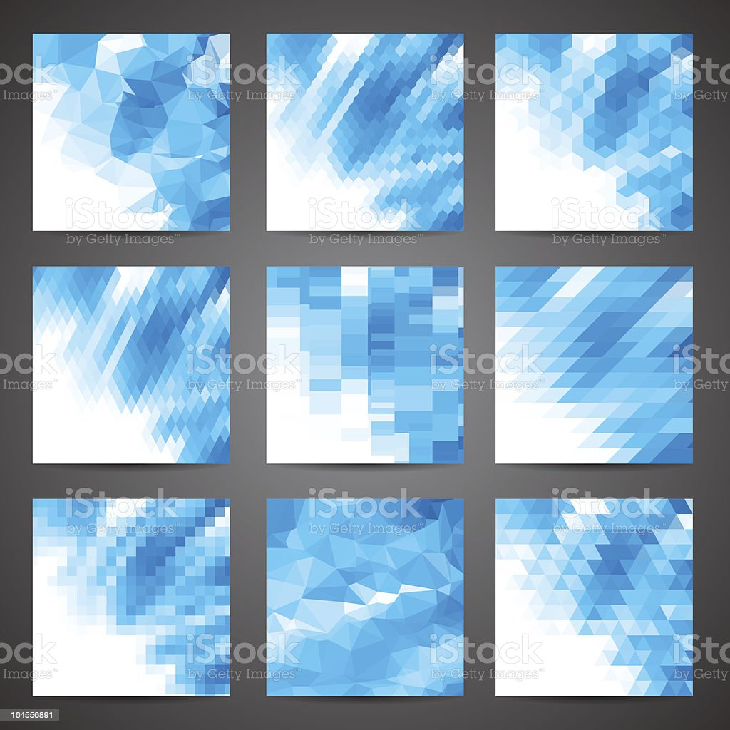 Mosaic abstract geometric backgrounds set. royalty-free stock vector art