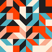 Abstract mosaic artwork design with simple shapes and figures. Geometrical pattern graphics with basic form and elements. Perfect for web banner, business presentation, branding package, fabric print.