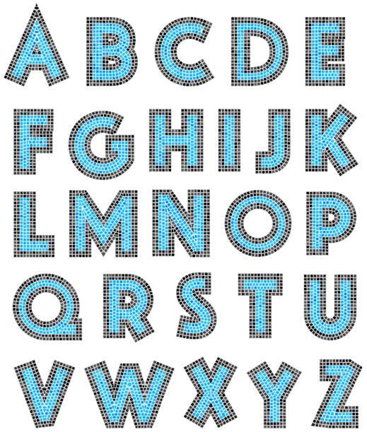 Mosaic Alphabet Letter Vector Tile Blue mosaic tile alphabet letter in vector. alphabet clipart stock illustrations