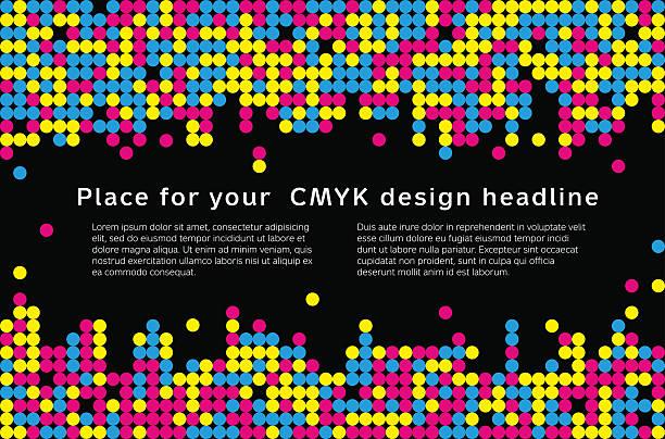 illustrazioni stock, clip art, cartoni animati e icone di tendenza di sfondo di mosaico di colori cmyk-luogo per il testo - cmyk