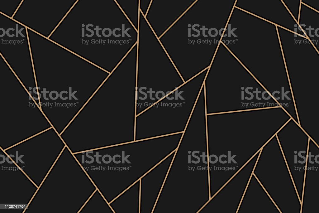 mosaic black and gold background - Royalty-free Abstrato arte vetorial