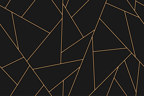 mosaic black and gold background - lineart stock illustrations