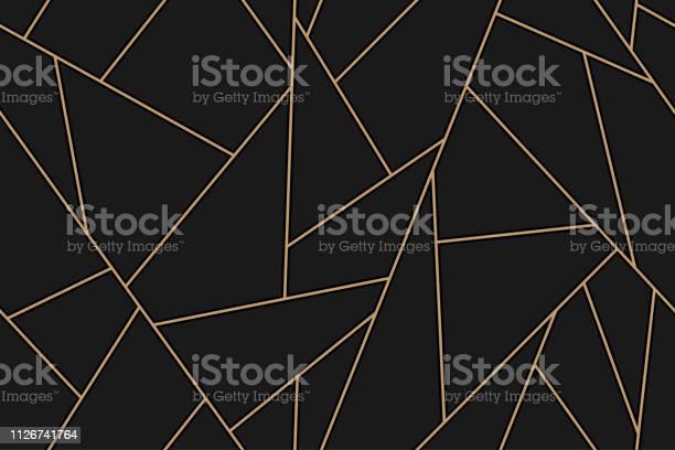 馬賽克黑色和金色背景向量圖形及更多Low-Poly-Modelling圖片