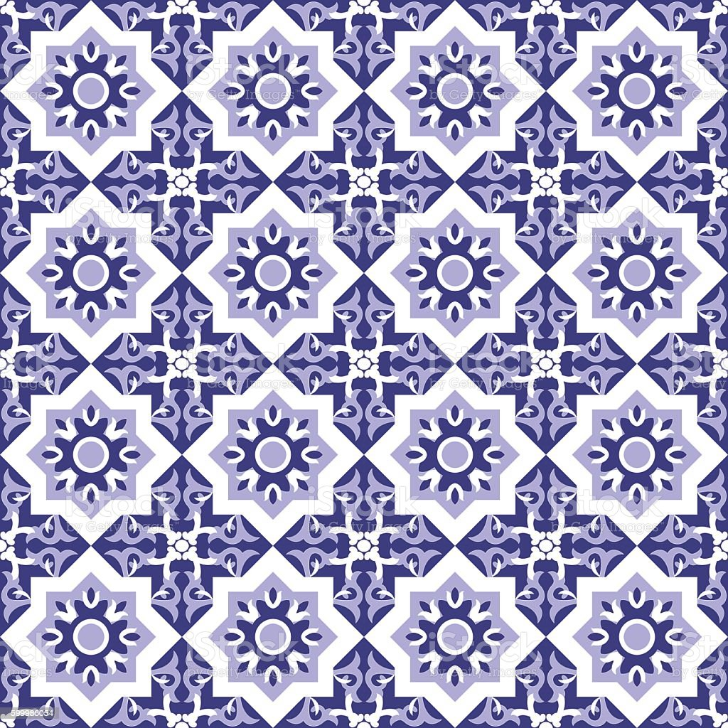 Mosaic blue white tiled pattern. - Illustration vectorielle