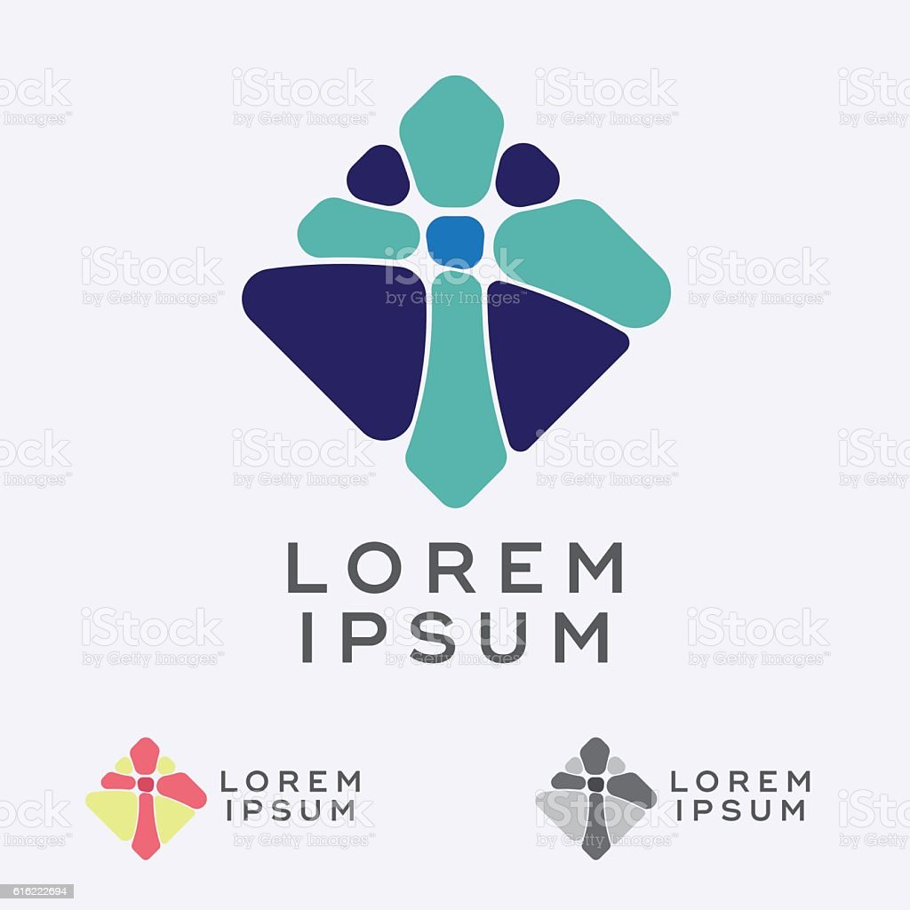 Mosaic Cross Sign Design Element vector art illustration