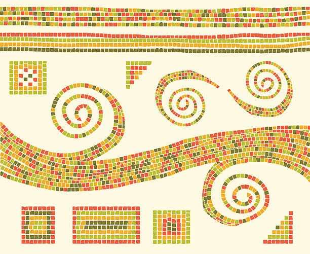 Mosaic Design Elements Mosaic patterns and design elements. Download includes an XXXL JPEG file (20 in. x 16.3 in. at 300 dpi). mosaic stock illustrations