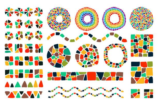 stockillustraties, clipart, cartoons en iconen met mozaïek ontwerpelementen - mozaïek
