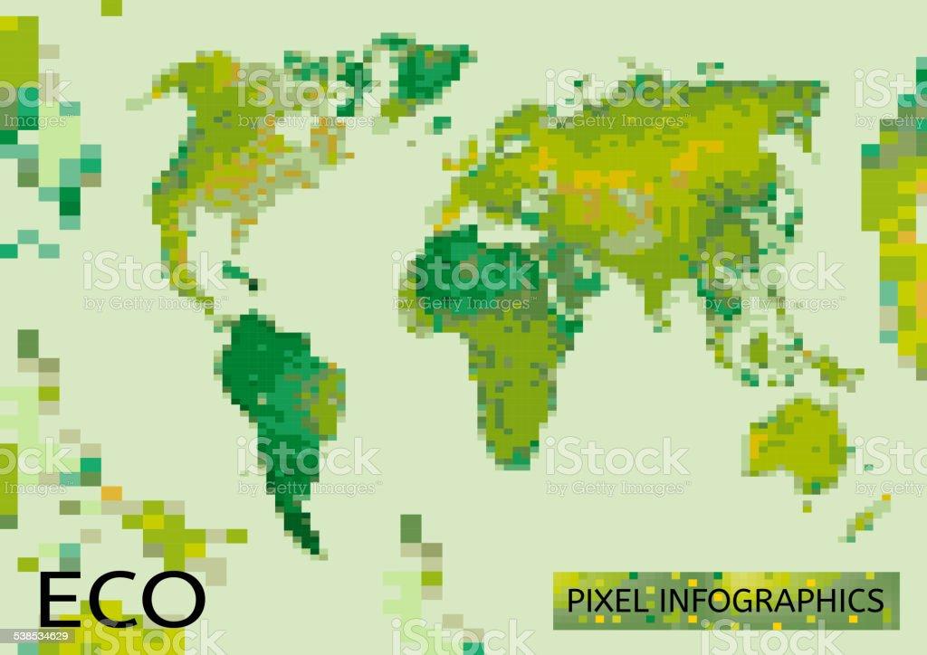 Mosaic Eco map vector art illustration