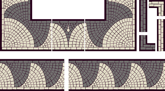 Mosaic Fish scales seamless tile elements