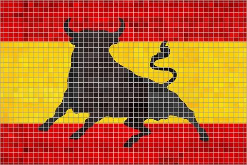 Mosaic Flag of Spain with an Osborne bull