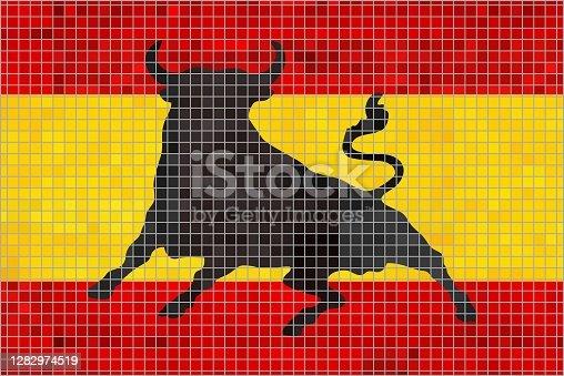 istock Mosaic Flag of Spain with an Osborne bull 1282974519