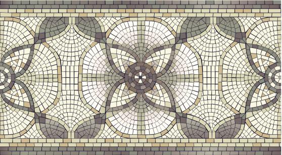 Mosaic Floral seamless Border