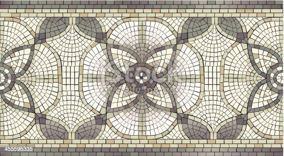 istock Mosaic Floral seamless Border 455595335