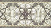 Ceramic mosaic seamless floral ornament. Size of illustration is 160x88 mm.